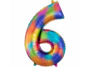 Balónik fóliový narodeninové číslo 6 dúhový 86 cm