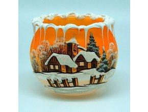 Kalich oranžový s motívom drevenice 10 cm