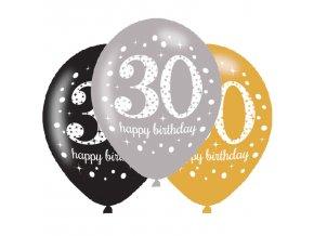 Latexové balóny narodeninové číslo 30 - 6 ks