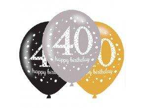 Latexové balóny narodeninové číslo 40 - 6 ks