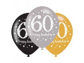 Latexové balóny narodeninové číslo 60 - 6 ks