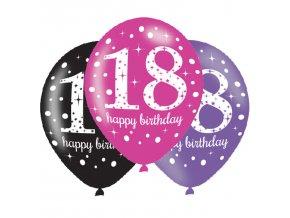 Latexové balóny narodeninové číslo 18 - ružová párty 6 ks