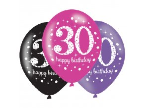 Latexové balóny narodeninové číslo 30 - ružová párty 6 ks