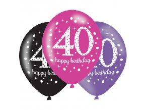 Latexové balóny narodeninové číslo 40 - ružová párty 6 ks