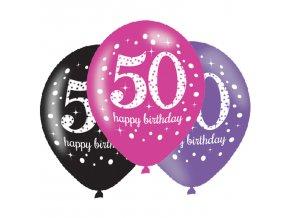 Latexové balóny narodeninové číslo 50 - ružová párty 6 ks