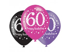 Latexové balóny narodeninové číslo 60 - ružová párty 6 ks
