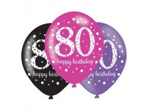 Latexové balóny narodeninové číslo 80 - ružová párty 6 ks