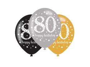 Latexové balóny narodeninové číslo 80 - 6 ks