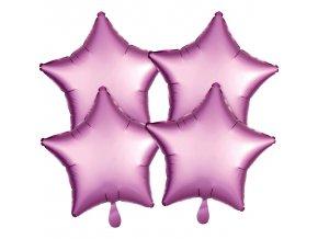 Fóliové balóny sada hviezdy satén - ružové 4 ks