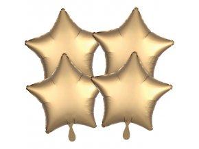 Fóliové balóny sada hviezdy satén - zlaté 4 ks
