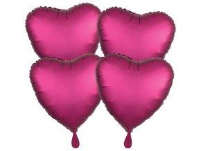 Fóliové balóny sada srdce satén - magenta 4 ks