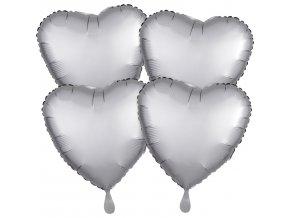 Fóliové balóny sada srdce satén - sivé 4 ks