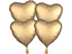 Fóliové balóny sada srdce satén - zlaté 4 ks