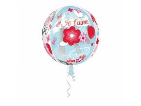 Guľatý fóliový balón Je t'aime 38 x 40 cm