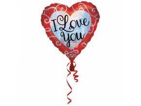 Fóliový balón ligotavé srdce I love you 43 cm