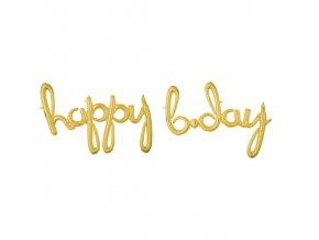 """Fóliový balón písané písmo """"happy b-day"""" zlatý"""