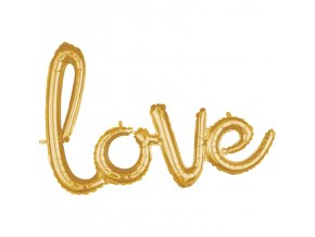 """Fóliový balón písané písmo """"love"""" zlatý"""