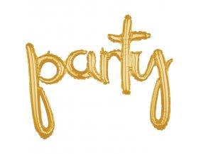 """Fóliový balón písané písmo """"party"""" zlatý"""