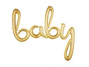"""Fóliový balón písané písmo """"baby"""" zlatý"""
