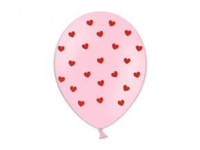 Ružový Balónik s červenými srdiečkami