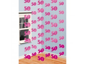 Visiaca dekorácia 50. narodeniny - ružové