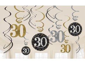 Dekorácia Víry 30. narodeniny - Trblietavá zlatá