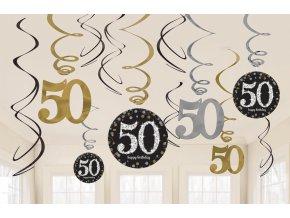 Dekorácia Víry 50. narodeniny - Trblietavá zlatá