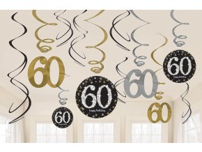Dekorácia Víry 60. narodeniny - Trblietavá zlatá