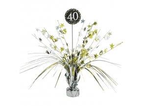 Dekorácia na stôl 40.narodeniny - Trblietavá zlatá