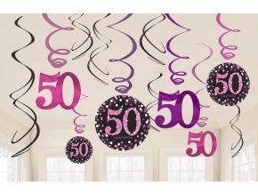 Dekorácia Víry 50. narodeniny - Trblietavá ružová