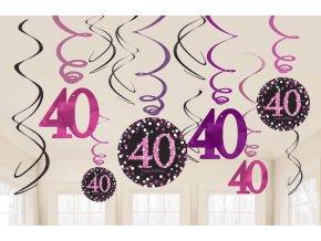 Dekorácia Víry 40. narodeniny - Trblietavá ružová