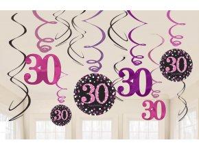 Dekorácia Víry 30. narodeniny - Trblietavá ružová