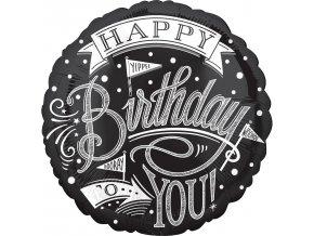 Fóliový balón Happy Birthday - Čiernobiely