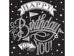 Servítky Happy Birthday čierno - biele
