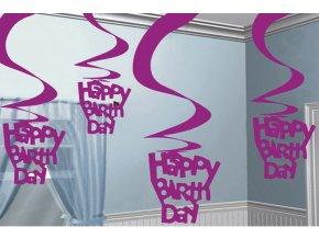 Dekorácia Víry Happy Birthday ružové