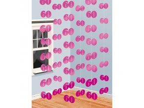 Visiaca dekorácia 60.narodeniny - ružové