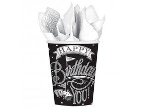 Poháre Happy Birthday čierno - biele