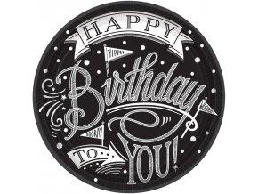 Taniere Happy Birthday čierno - biele 17,7 cm
