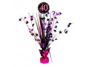 Dekorácia na oslavu - trblietavé 40. narodeniny (ružová)