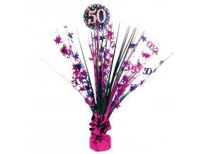 Dekorácia na oslavu - trblietavé 50. narodeniny (ružová)