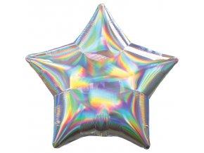 Fóliový balón - Holografická strieborná Hviezda