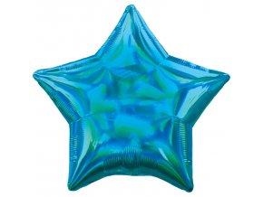 Fóliový balón - Holografická modrá Hviezda