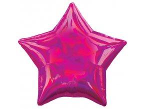 Fóliový balón - Holografická ružová Hviezda