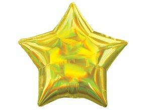 Fóliový balón - Holografická žltá Hviezda
