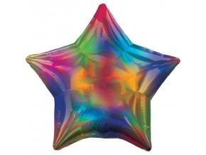 Fóliový balón - Holografická dúha Hviezda