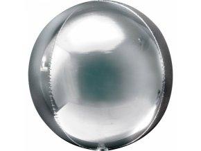 Strieborný fóliový balón - guľa