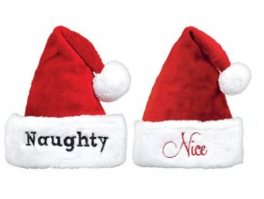 Vianočné čiapky Naughty/Nice - 2 ks