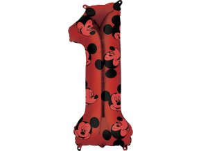Balónik fóliový narodeninové číslo 1 - Mickey Mouse 66 cm
