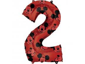 Fóliový balón narodeninové číslo 2 - Mickey Mouse