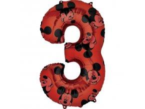Fóliový balón narodeninové číslo 3 - Mickey Mouse